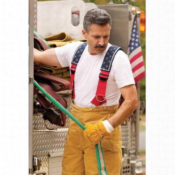 "American Firewear Quick-release Padded Suspenders, Red/blue, 41"", Traditional - Red - Male - Included"