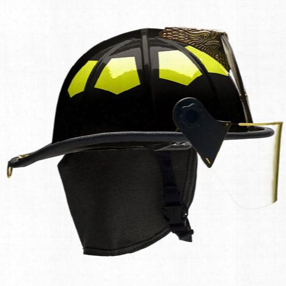 "Bullard Ust Series Fiberglass Helmet, 4"" Faceshield & 5"" Brass Eagle, Black - White - Male - Excluded"