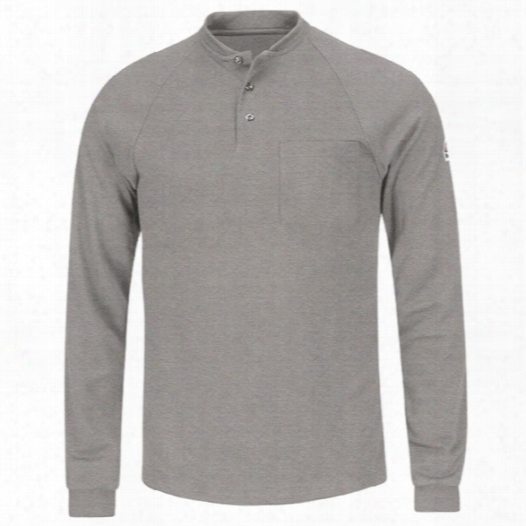 Bulwark Flame Resistant Henley Long-sleeve Shirt, Grey, 2x-large Regular - Gray - Male - Included