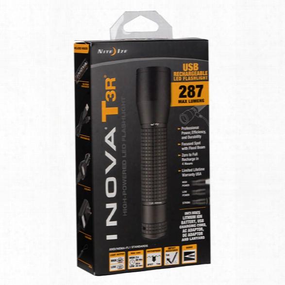 Nite Ize Inova® T3r™, Usb Rechargeable Tactical Led Flashlight - Black - Male - Included