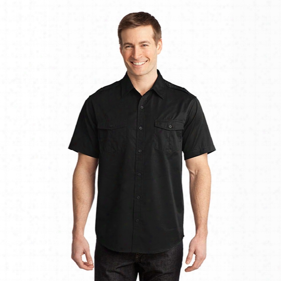 Port Authority Stain-resistant Short Sleeve Twill Shirt, Black, 2x-large - Black - Male - Included