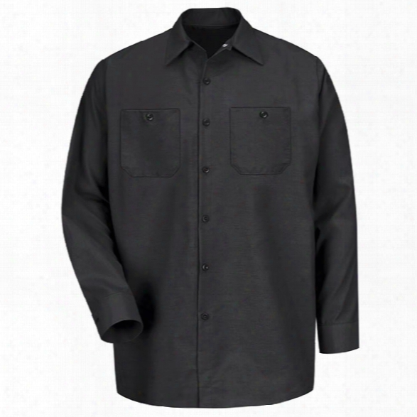 Red Kap Industrial Solid Work Long-sleeve Shirt, Black, 2x-large Long - Black - Male - Included