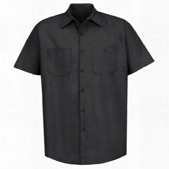 Red Kap Industrial Solid Work Short-sleeve Shirt, Black, 2x-large Long - Black - Male - Included