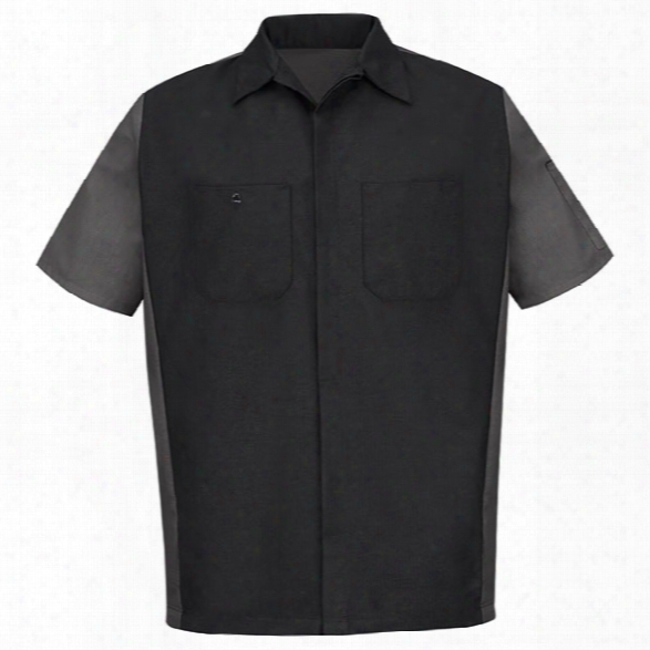 Red Kap Ripstop Short-sleeve Crew Shirt, Black-charcoal, 2x-large Long - Black - Male - Included