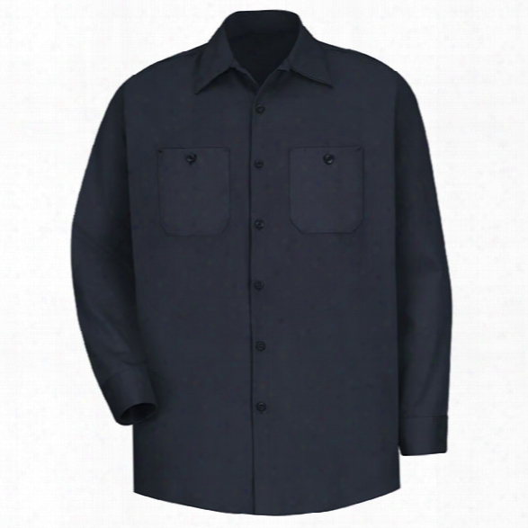 Red Kap Wrinkle-resistant Cotton Long-sleeve Work Shirt, Dark Navy, 2x-large Long - Blue - Male - Included