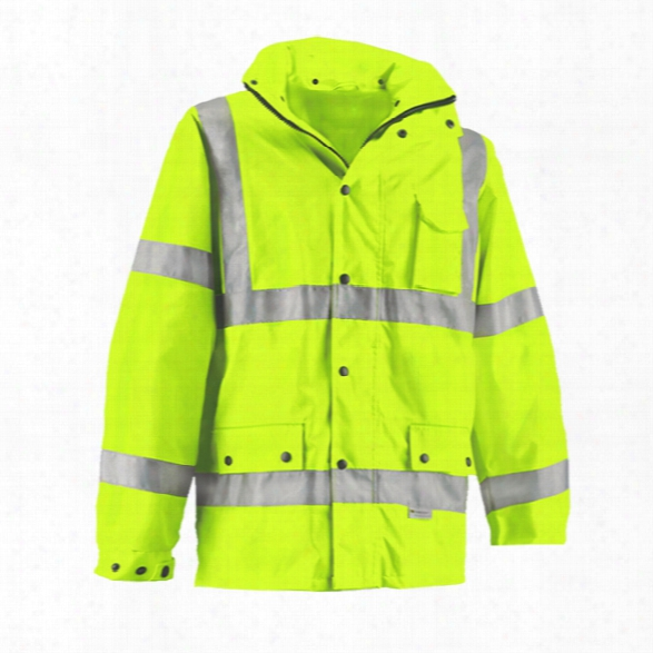 Reflective Apparel Class 3 Hi-vis Lime, Water Resistant,breathable Mesh-lined Parka W/ Hood, 2x - Silver - Male - Included