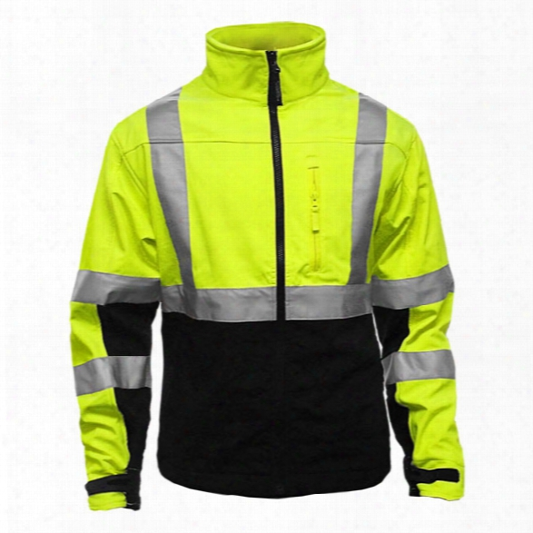 Reflective Apparel Class 3 Hi-vis Lime/black, Water Resistant,breathable Soft Shell Athletic Jacket, 2x - Black - Male - Included