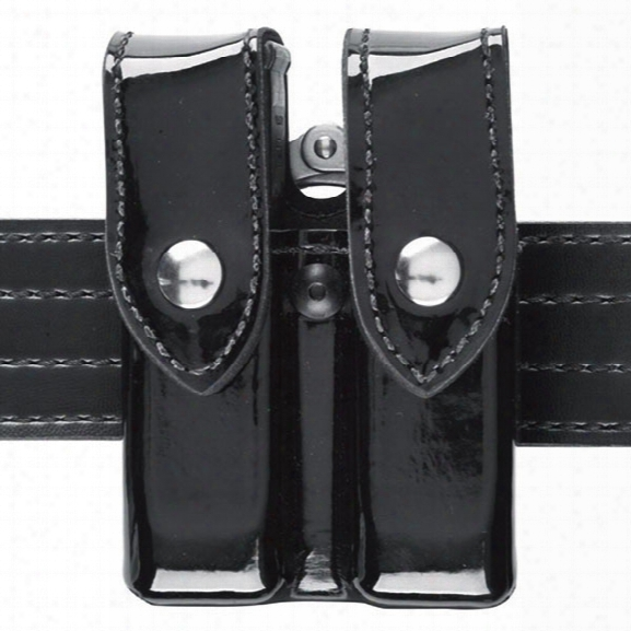 Safariland 72 Double Mag And Handcuff Pouch, Plain Black, Chrome Snap, Fits Glock 20, 21 - Black - Male - Included