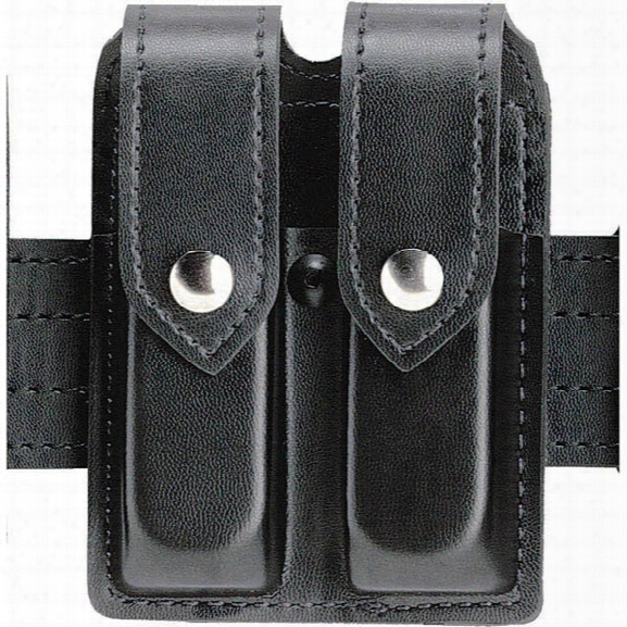 "Safariland Double Handgun Magazine Pouch For 2-1/4"" Duty Belts, Black, Plain Black, Chrome Snap, S&w 3913 3914, Sig Sauer P225 P239 - Black - Unisex - Included"
