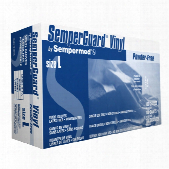 Sempermed (100/bx) Semperguard Vinyl Industrial Gloves, Powder Free, Smooth, Large - Male - Included