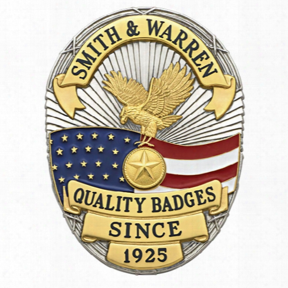 Smith & Warren S642 Custom Badge, American Flag Oval, Multi Color Seal, Gold - Gold - Male - Included