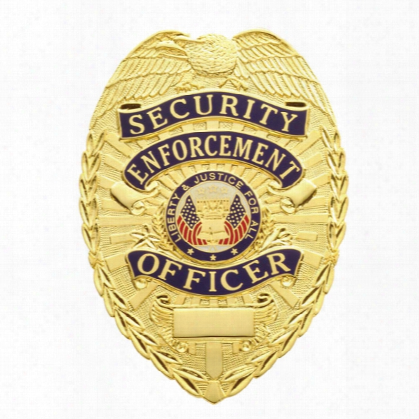 Smith & Warren Security Enforcement Officer Tear Drop Badge, Gold - Gold - Male - Included