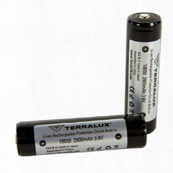 Terralux 2/pack 18650 2900mah Batteries - Male - Included