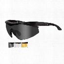 Wiley X WX Talon Eyewear, Includes Smoke Grey Lens, Clear Lens, Matte Black Frame - Black - Unisex - Included
