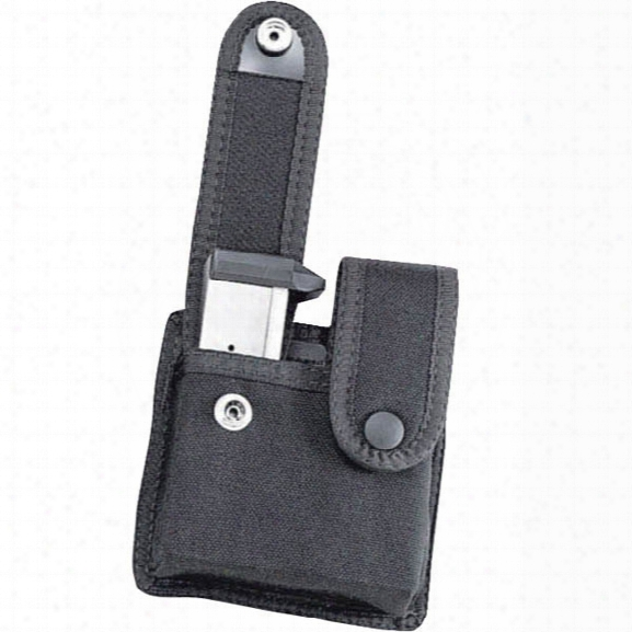 Uncle Mikes Double Mag Case W/ Flaps For Double Row Mags, Black, Mirage Plain - Black - Male - Included