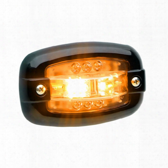 Whelen V23&manual Occupation; Series Super-led® Surface Mount Lighthead, Black Flange, Amber - Chrome - Male - Excluded
